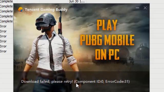 حل مشكلة component id 0 error code 31 في برنامج Game Loop - Tencent
