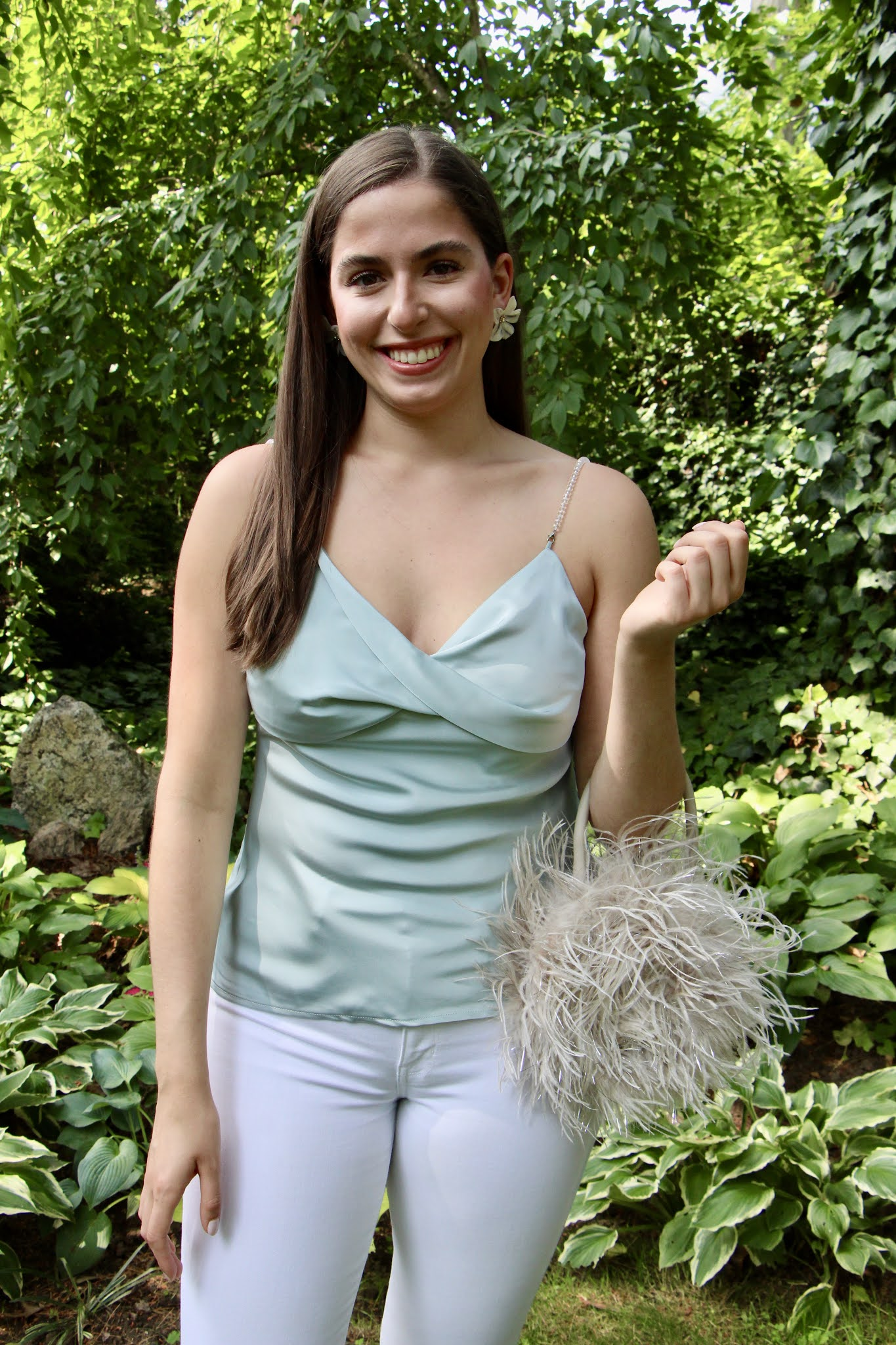 feather bag, chicwish top, going out look, date night look, tank top, white jeans, feather bag