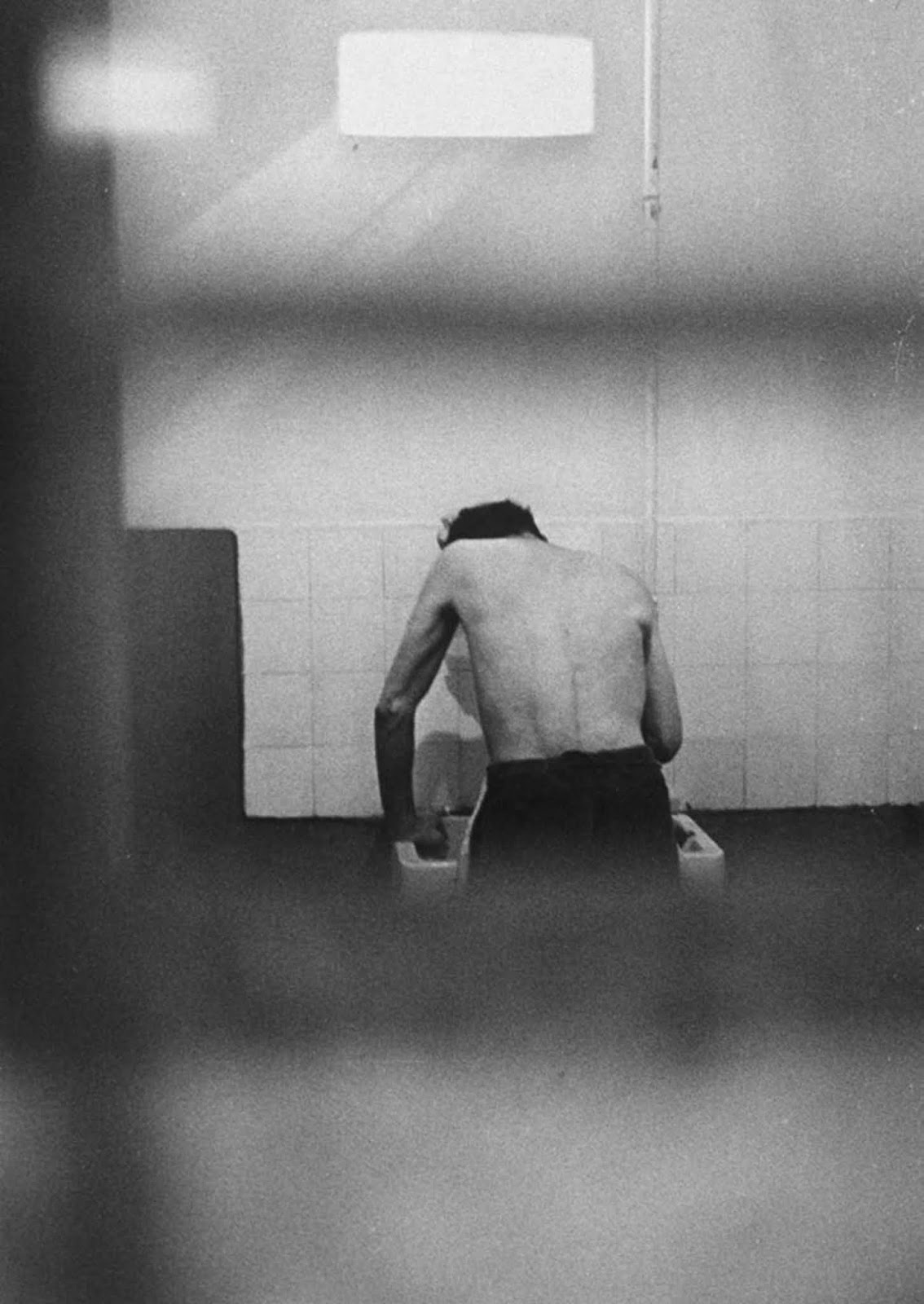 His daily bath was a make-do affair but part of the prison's strict routine.