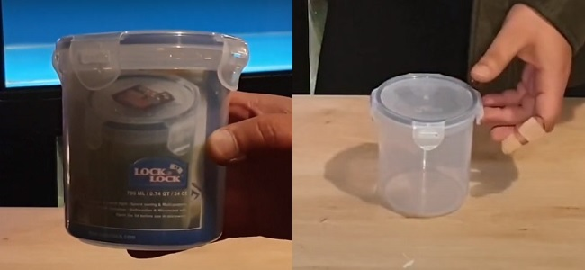Container for fish poop filter