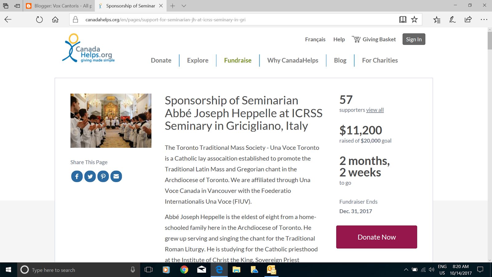 Please consider supporting this campaign to support a Seminarian from Toronto at the ICRSS