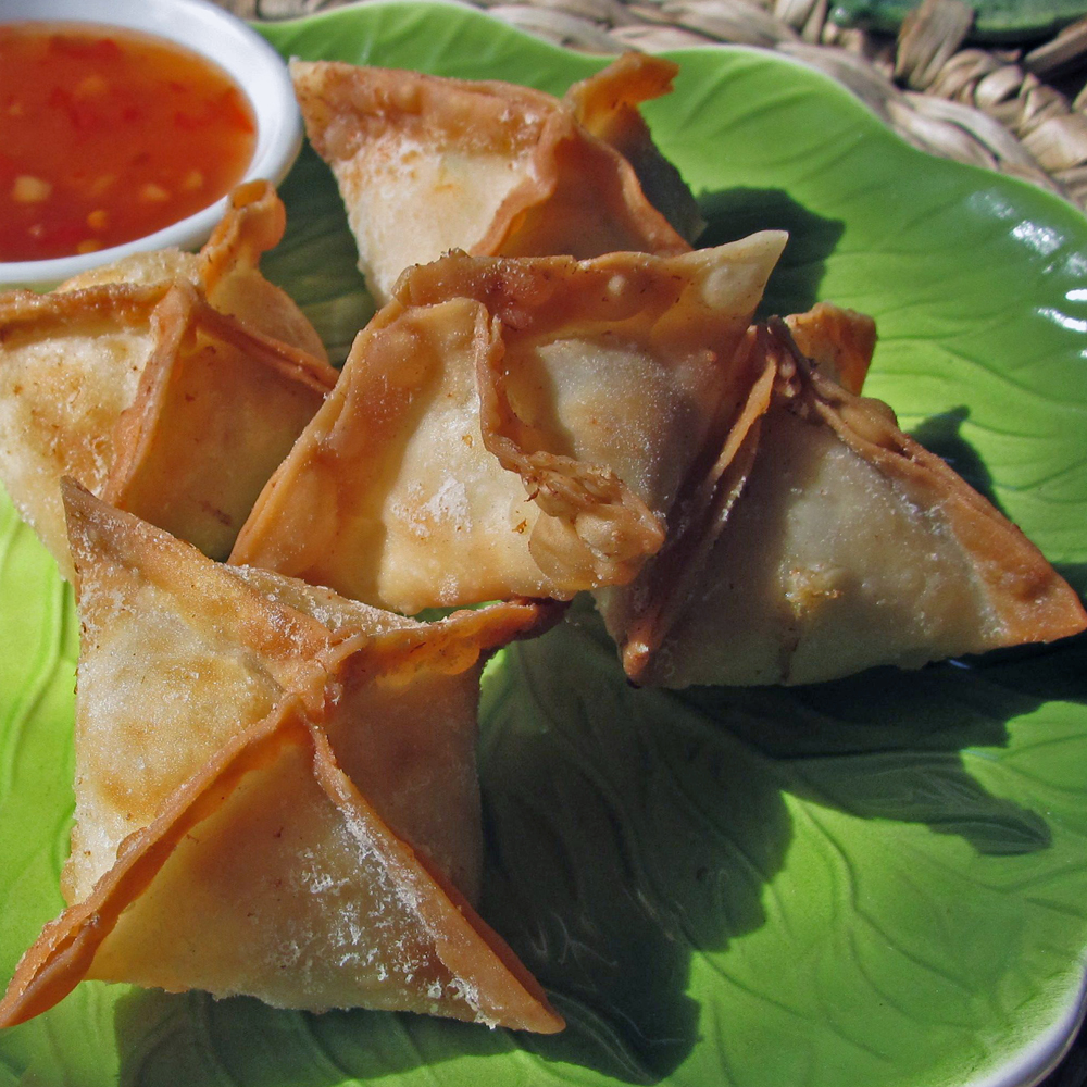 Crab rangoon are cheese-filled fried wontons