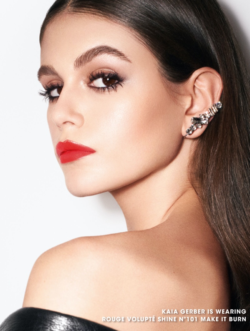 Model Kaia Gerber fronts YSL Beauty Rouge Volupte Rock'n Shine campaign
