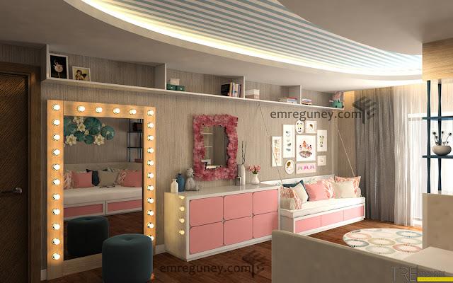 kız çocuk odası 3d