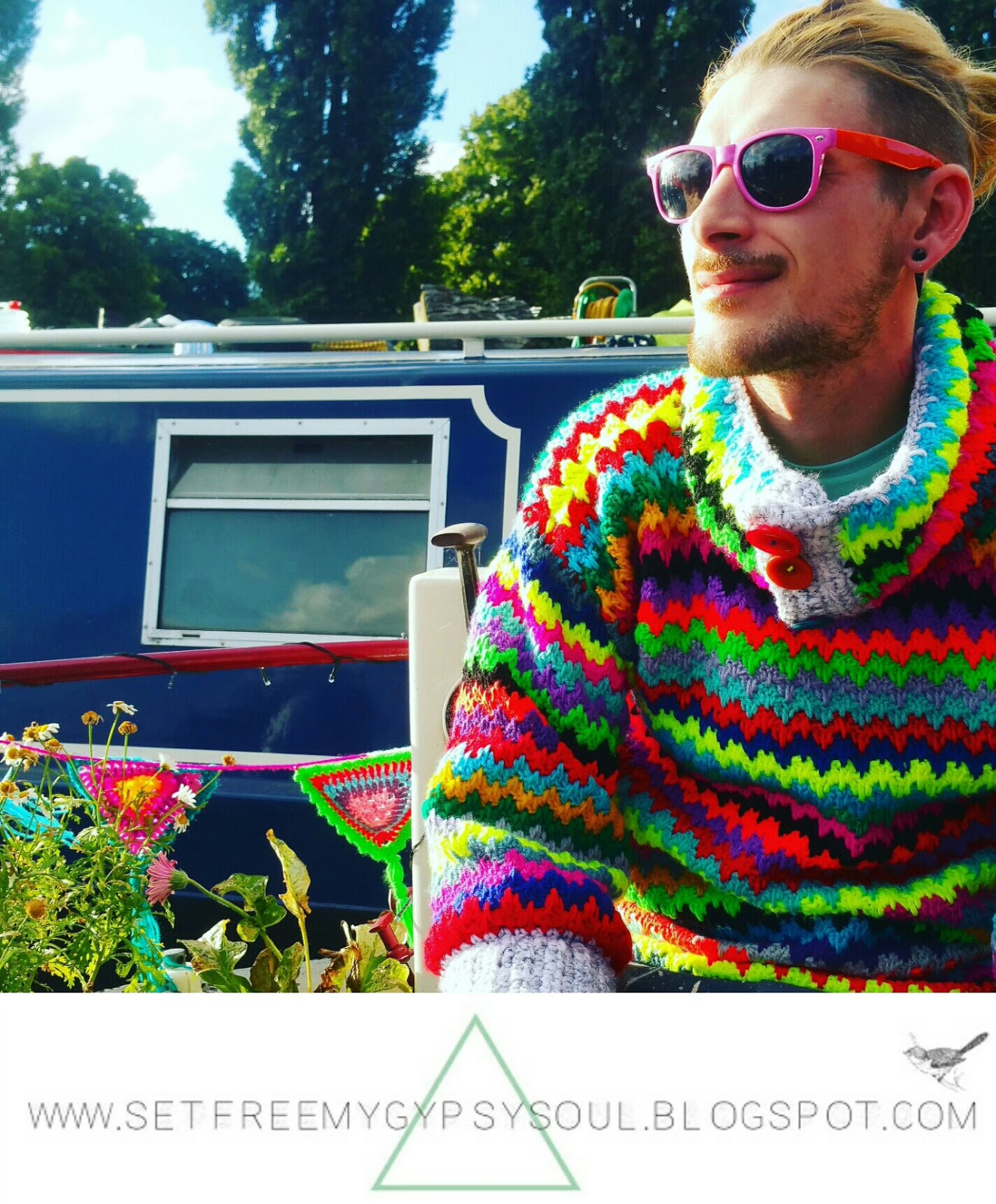 mens man crochet sweater jumper cardigan pattern spike stitch boho hipster hippie narrow boat