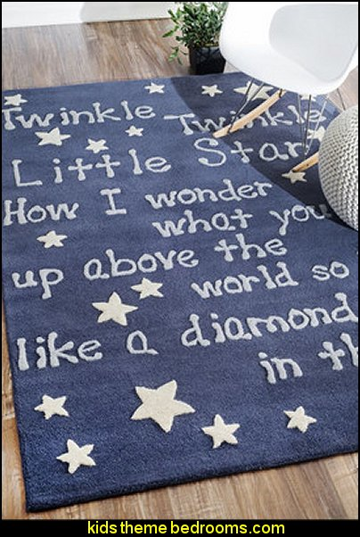 twinkle twinkle little star Sky Novelty Blue Area Rug