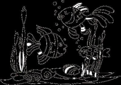 gambar sketsa ikan di Laut