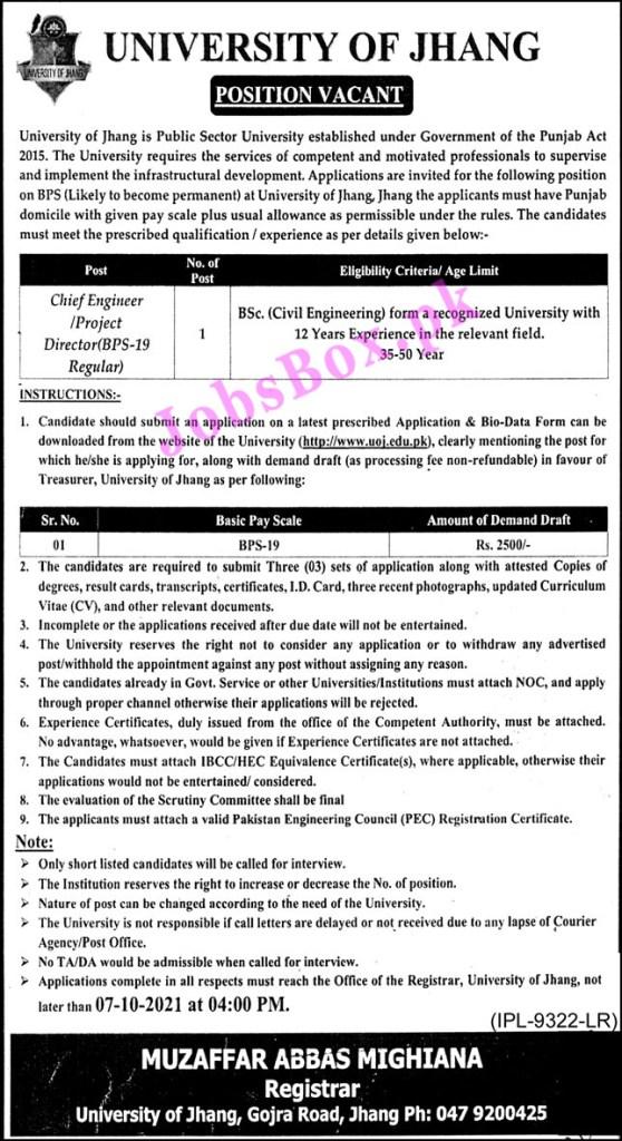 www.uoj.edu.pk - UOJ University of Jhang Jobs 2021 in Pakistan