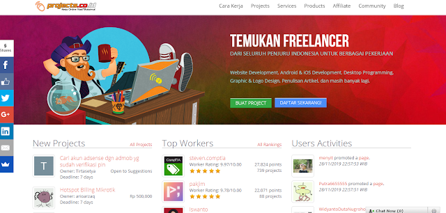 Projects situs freelance terbesar Indonesia