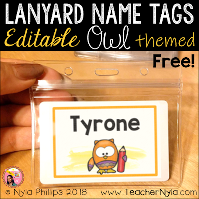 Owl themed name tags for back to school