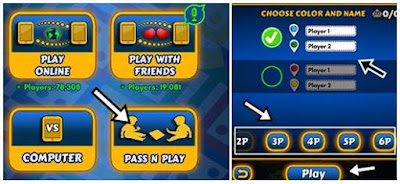 click pass n play and choose color name player and click play
