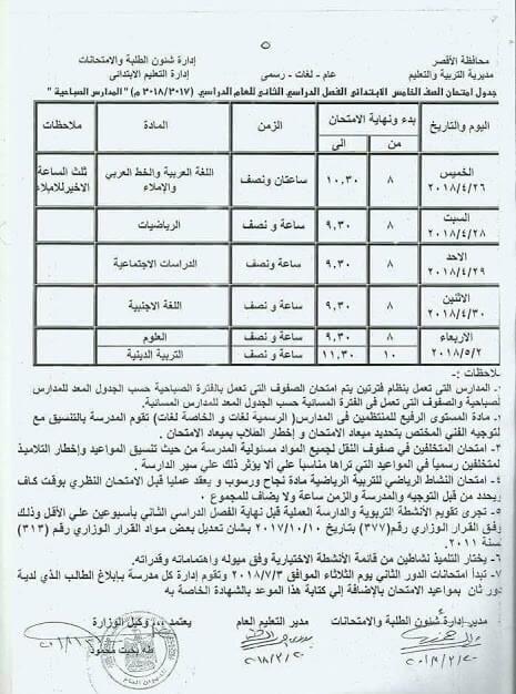 جدول امتحانات الصف الخامس الابتدائي 2018 الترم الثاني محافظة الأقصر