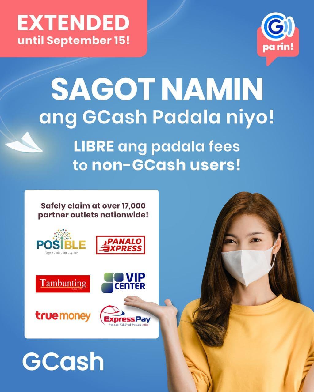 Magpadala for FREE  sa GCash Padala until September 15