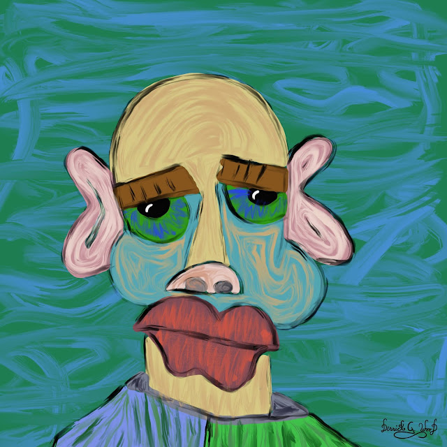 a gloomy looking man with smeared pastels