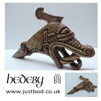 Viking Dragon Head Wood Carving in Oak