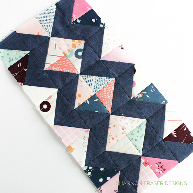 Chevron Quilt center | Shannon Fraser Designs | Playground Fabrics from Art Gallery Fabrics | Amy Sinibaldi Fabrics | Shot Cotton Kaffe Fasset | Modern improv quilting | Half square triangles | Quilting | Modern Patchwork