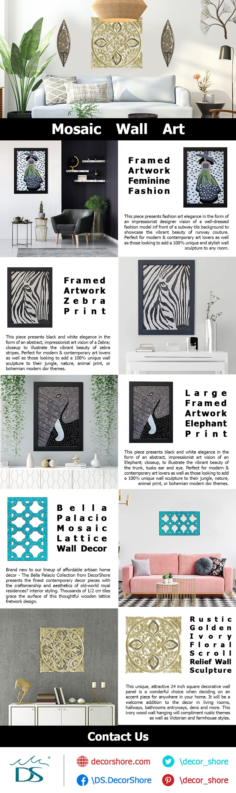 Mosaic Wall Art For Home Decor #infographic #Home Decor #infographics #Wall Art #Home Improvement