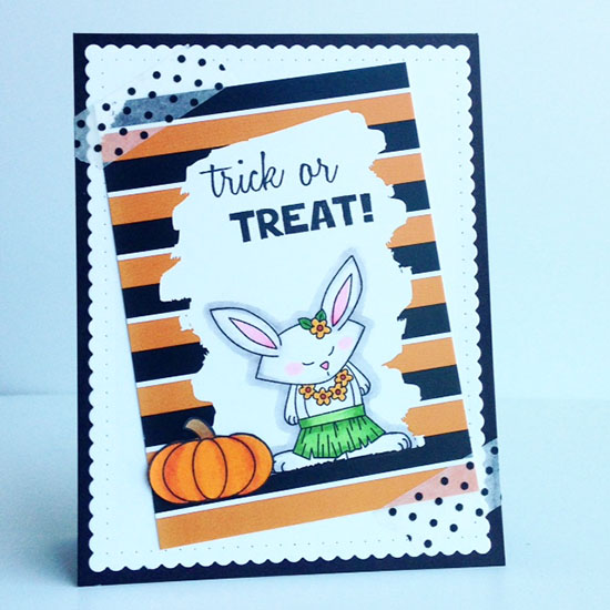 Hula Bunny Halloween Card by Diane Jaquay | Beach Party Stamp set by Newton's Nook Designs