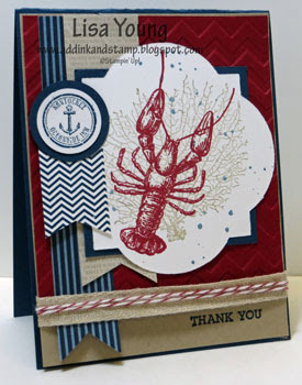 Stampin' Up! By the Tide stamp set. Red lobster with blue and kraft. Handmade thank you card by Lisa Young, Add Ink and Stamp
