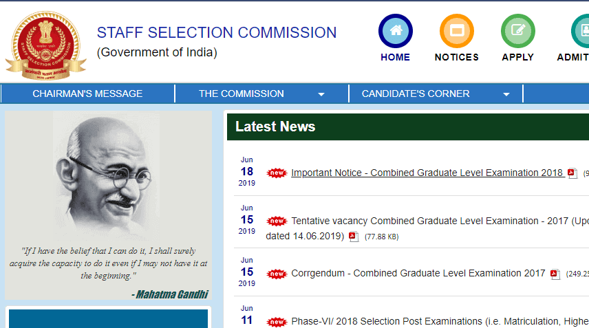 SSC CGL 2018 Result Date
