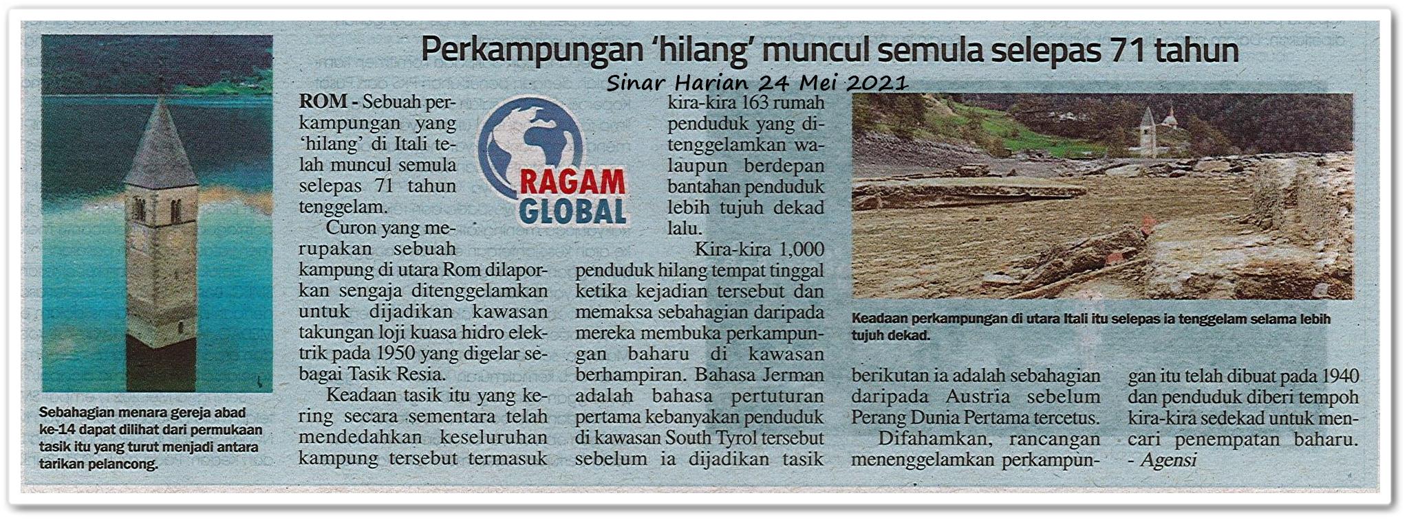 Perkampungan 'hilang' muncul semula selepas 71 tahun - Keratan akhbar Sinar Harian 24 April 2021