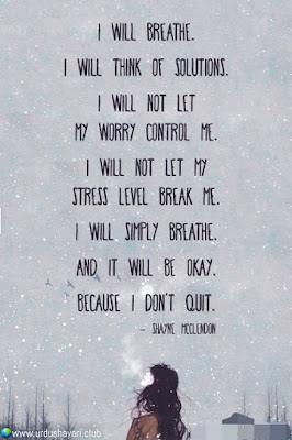 I Will Breathe.  I Will Think Of Solutions.  I Will Not Let  My Worry Control Me..  I Will Not Let My  Stress Level Break Me..  I Will Simply Breathe.  And It Will Be okay.  Because I Don't Quit..  #motivationalquotes #inspirequotes   #quotes