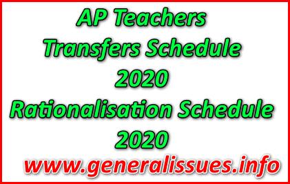 AP Teachers Transfers Schedule Teachers Rationalisation Schedule 2020