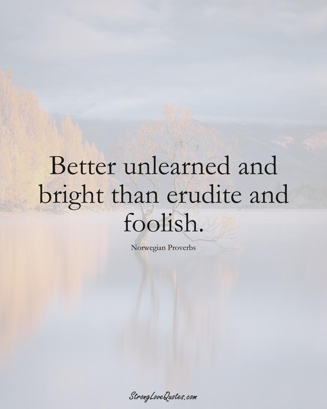 Better unlearned and bright than erudite and foolish. (Norwegian Sayings);  #EuropeanSayings