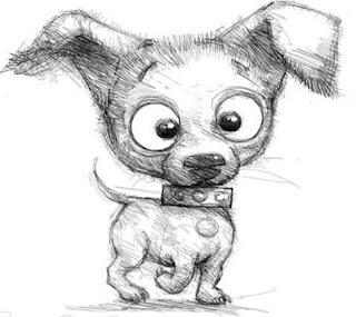 sketsa anak anjing