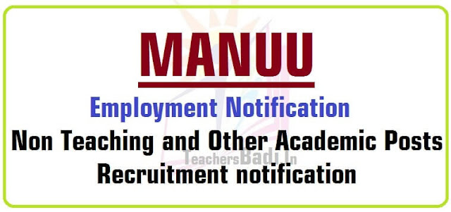 MANUU Non Teaching,Other Academic Posts 2016 recruitment notification