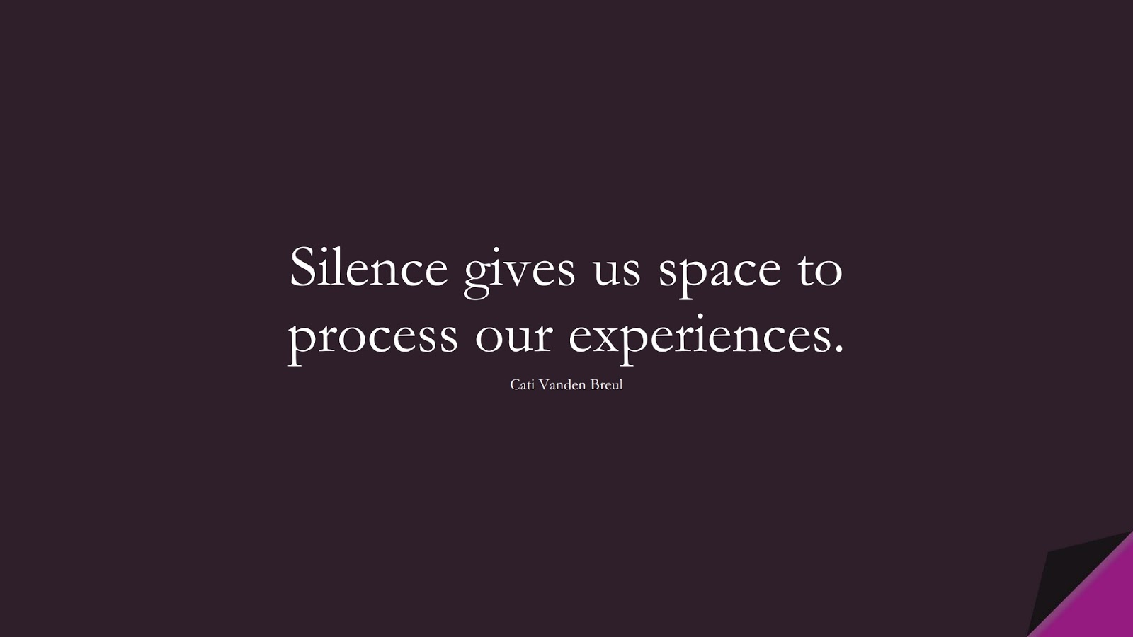 Silence gives us space to process our experiences. (Cati Vanden Breul);  #CalmQuotes