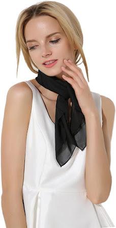 Black Chiffon Neck Scarves Shawls