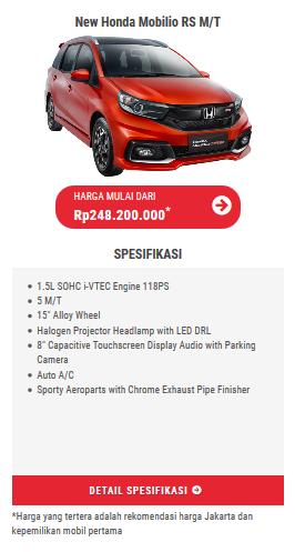 harga dan spesifikasi Honda Mobilio