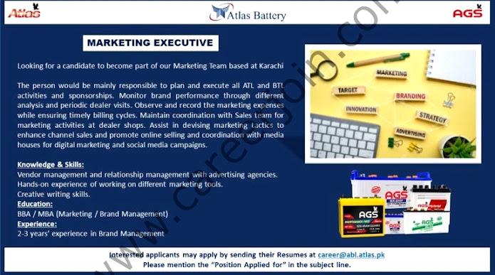 Atlas Battery Latest  Jobs Marketing Executive