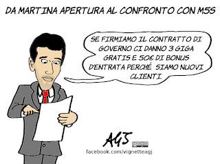 Martina, PD, M5S, consultazioni, contratto di governo, maggioranza, politica, vignetta, satira