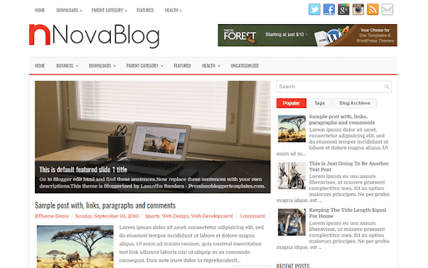 NovaBlog Free Blogger Template