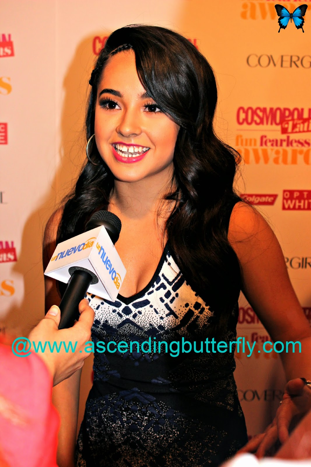 Singer Becky G at Cosmopolitan for Latinas Fun Fearless Awards 2014 in New York City being interviewed by Nuevo Dia
