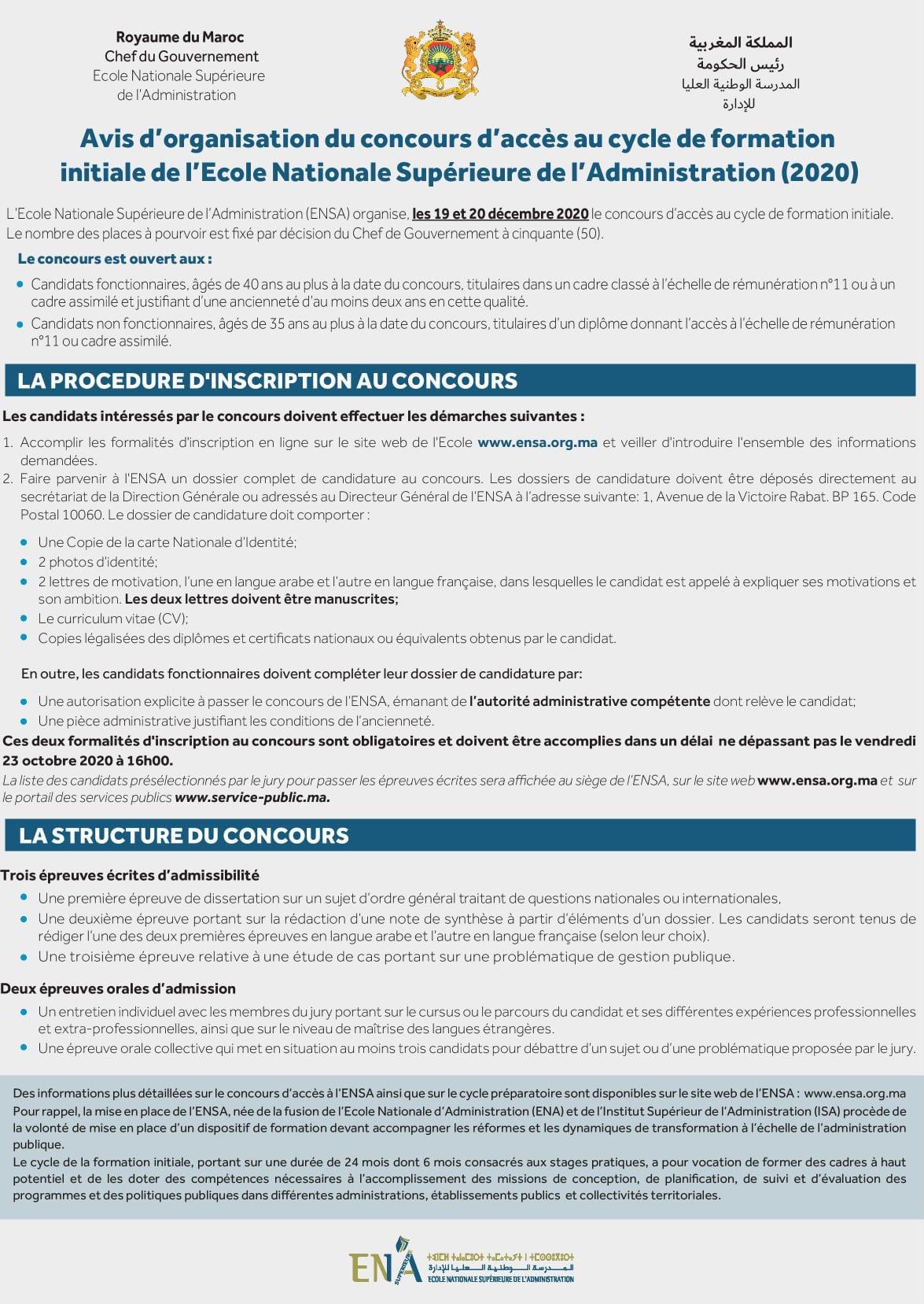 Concours d'Accès ENSA 2020 - 50 Postes