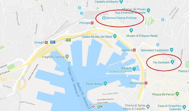 Mapa de onde ficar em Génova