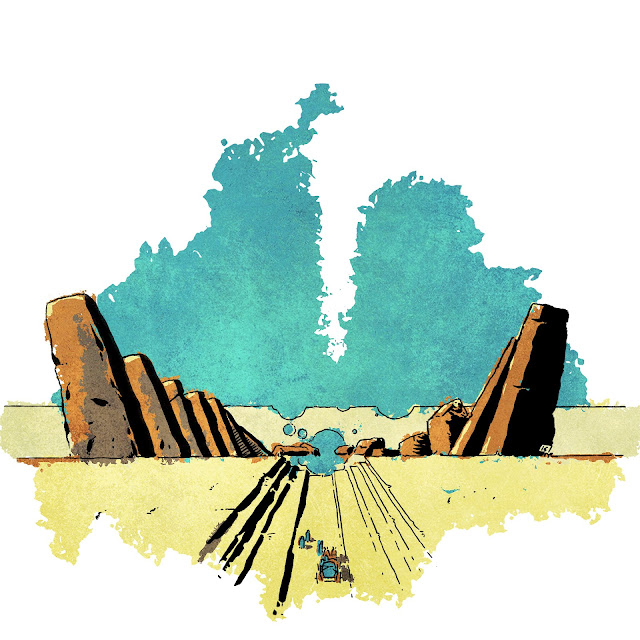 A blue sky and yellow landscape with two angled, vertical sets of rocks in dark brown jutting from the ground. They are mirrored, but angled away from each other. A small blue and orange caravan travels down a straight road headed away from the viewer.