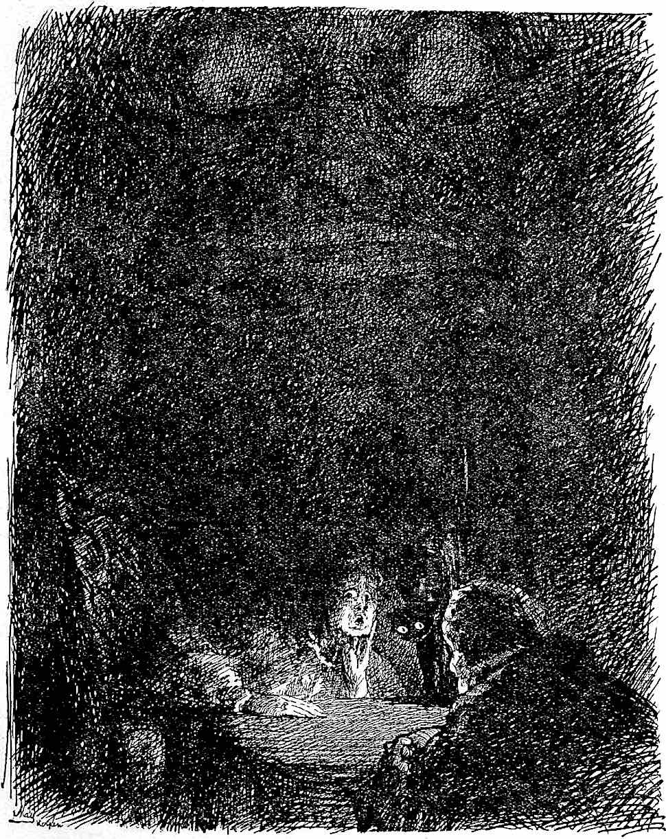 a 1920 illustration by Anna May, séance demon