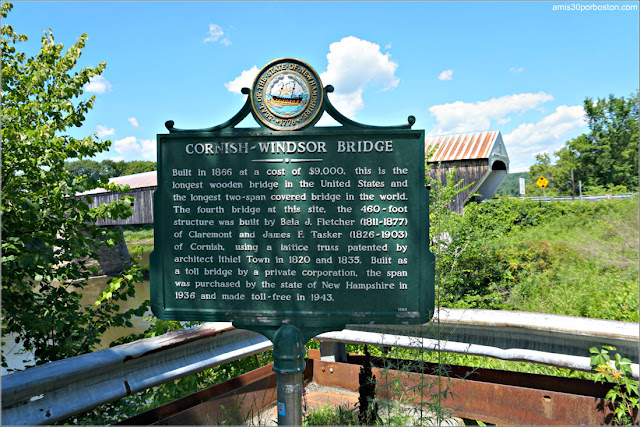 Placa del Cornish-Windsor Covered Bridge en New Hampshire