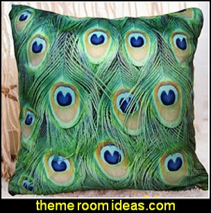 Decorative Throw Pillow Cover - Peacock Feathers Design on Both Sides - Soft Velvet Fabric