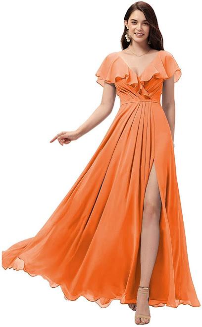 Best Orange Chiffon Bridesmaid Dresses