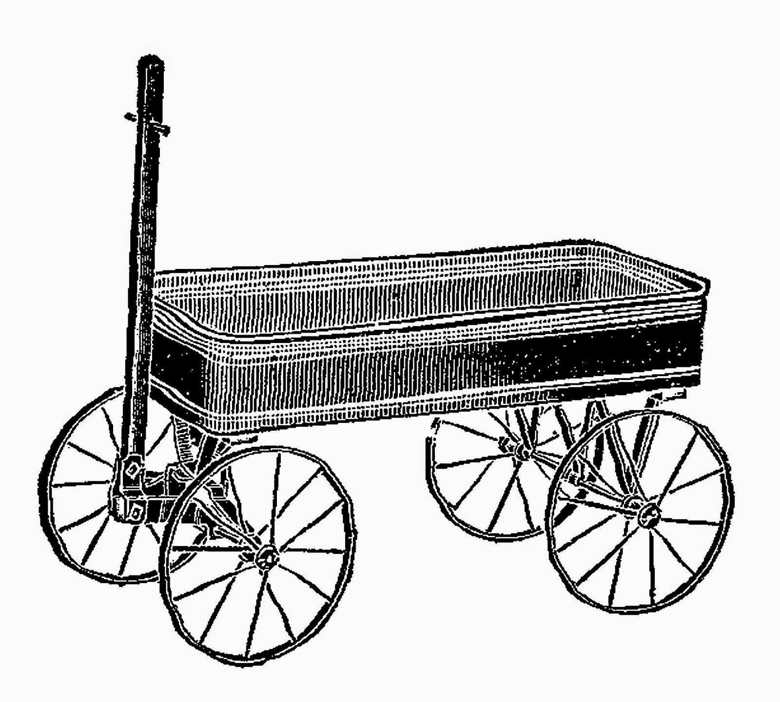 Antique Images Vintage Toy Wagon Digital Clip Art Image