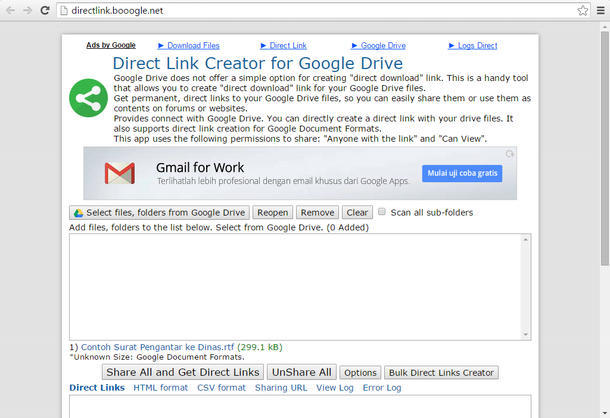 how to share download link from google drive