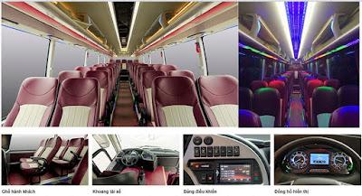 Tổng quan nội thất xe khách 47 chỗ Thaco 120s tại Hải Phòng