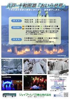 JR Bus Tohoku Oirase-Go Hachinohe Towadako February 2017 schedule 八戸駅・十和田市-奥入瀬渓流・十和田湖(おいらせ号) (路線バス) 平成29年2月11日~平成29年2月19日の時刻表 冬季臨時運行