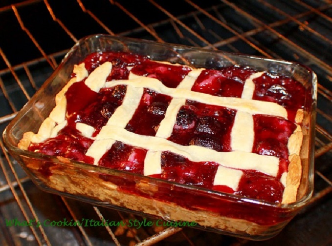 this is cherry berry pie in an rectangular deep dish glass baking pan