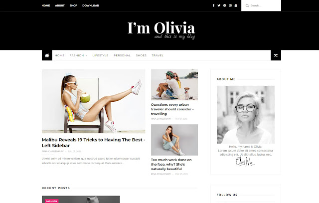 Olivia Responsive Personal Blog Fashions Lifestyle Girly Update Blogger Template Theme